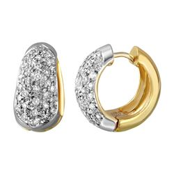 2 CTW Diamond Earrings 14K 2Tone Gold - REF-161Y3X