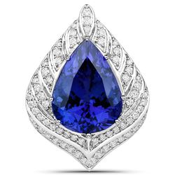 13.25 ctw Tanzanite & Diamond Pendant 18K White Gold - REF-1478T2X
