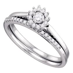 Diamond Halo Wedding Bridal Ring Set 1/4 Cttw 10k White Gold