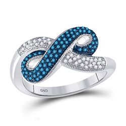 Round Blue Color Enhanced Diamond Infinity Ring 1/3 Cttw 10kt White Gold