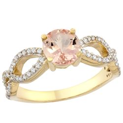0.95 CTW Morganite & Diamond Ring 14K Yellow Gold - REF-53K3W