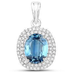 2.62 ctw Sapphire Blue & Diamond Pendant 14K White Gold - REF-128Y8N