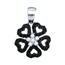 Round Black Color Enhanced Diamond Heart Circle Pendant 1/3 Cttw 10kt White Gold