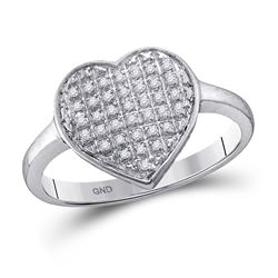 Diamond Heart Cluster Ring 1/4 Cttw 10kt White Gold