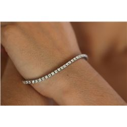 Natural 3.32 ctw Diamond Eternity Tennis Bracelet 14K White Gold - REF-293R5K