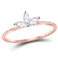 Marquise Diamond Stackable Band Ring 1/4 Cttw 10kt Rose Gold