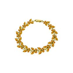 Genuine 16.5 ctw Citrine Bracelet 14KT Yellow Gold - REF-179K2V