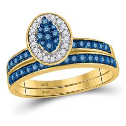 Blue Color Enhanced Diamond Cluster Bridal Wedding Engagement Ring Band Set 1/2 Cttw 10kt Yellow Gol