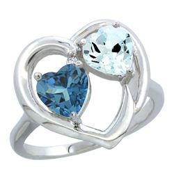 2.61 CTW Diamond, London Blue Topaz & Aquamarine Ring 10K White Gold - REF-28K2W