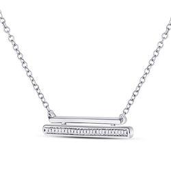Diamond Double Horizontal Bar Necklace 1/12 Cttw 10kt White Gold