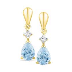 Lab-Created Blue Swiss Topaz & Diamond Dangle Earrings 1-3/4 Cttw 10k Yellow Gold