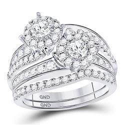 Diamond Bridal Wedding Engagement Ring Band Set 1-3/4 Cttw 14kt White Gold