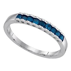 Blue Color Enhanced Diamond Ribbed Band Ring 1/4 Cttw 10kt White Gold