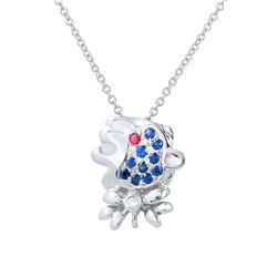 0.18 CTW Blue Sapphire & Pink Sapphire Necklace 14K White Gold - REF-15X3R