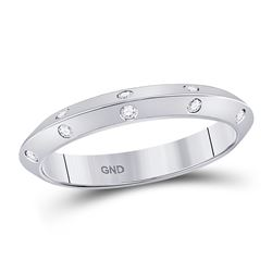 Diamond Wedding Machine-Set Band 1/10 Cttw 14kt White Gold
