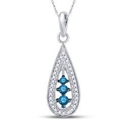 Round Blue Color Enhanced Diamond Teardrop Pendant 1/5 Cttw 10kt White Gold