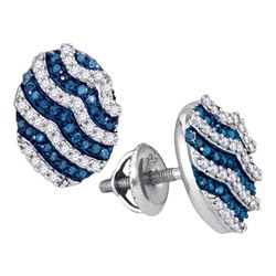 Round Blue Color Enhanced Diamond Oval Stripe Cluster Earrings 1/2 Cttw 10kt White Gold