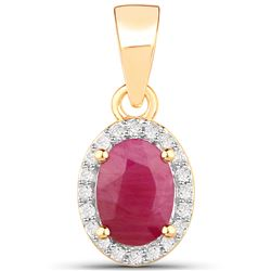 1 ctw Ruby & White Diamond Pendant 14K Yellow Gold - REF-26W6M