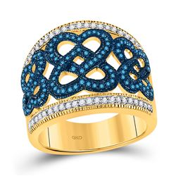 Round Blue Color Enhanced Diamond Linked Heart Ring 1/2 Cttw 10kt Yellow Gold