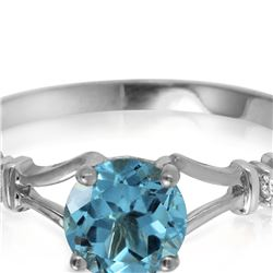 Genuine 1.02 ctw Blue Topaz & Diamond Ring 14KT White Gold - REF-28V3W