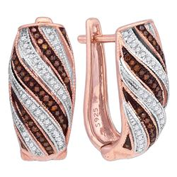 Round Red Color Enhanced Diamond Diagonal Stripe Hoop Earrings 1/3 Cttw 10kt Rose Gold