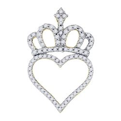 Diamond Crown Heart Pendant 1/3 Cttw 10kt Yellow Gold