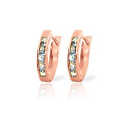 Genuine 0.85 ctw Aquamarine Earrings 14KT Rose Gold - REF-25P6H