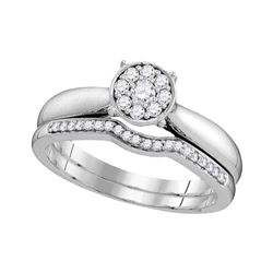 Diamond Bridal Wedding Engagement Ring Band Set 1/4 Cttw 10kt White Gold