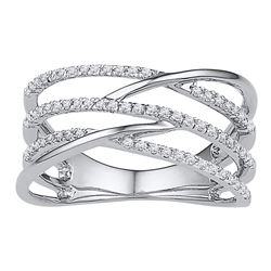 Diamond Triple Row Openwork Crossover Band Ring 1/3 Cttw 10kt White Gold