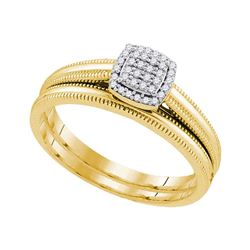 Diamond Milgrain Bridal Wedding Engagement Ring Band Set 1/10 Cttw 10kt Yellow Gold