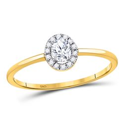 Oval Diamond Solitaire Stackable Band Ring 1/3 Cttw 10kt Yellow Gold