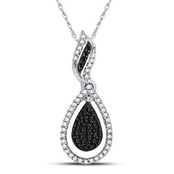 Round Black Color Enhanced Diamond Teardrop Pendant 1/3 Cttw 10kt White Gold