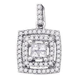 Diamond Square Cluster Pendant 1/3 Cttw 14kt White Gold