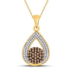 Round Brown Diamond Teardrop Cluster Pendant 1/3 Cttw 10kt Yellow Gold