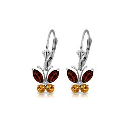Genuine 1.24 ctw Garnet & Citrine Earrings 14KT White Gold - REF-38X2M