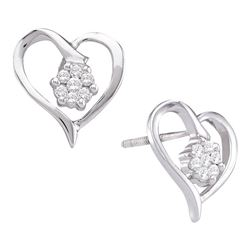 Diamond Cluster Heart Screwback Earrings 1/6 Cttw 10kt White Gold