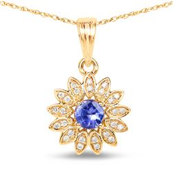 0.31 ctw Tanzanite & Diamond Pendant 14K Yellow Gold - REF-38X6Y