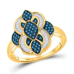 Round Blue Color Enhanced Diamond Wide Fashion Ring 1/2 Cttw 10kt Yellow Gold