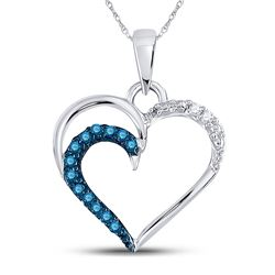 Round Blue Color Enhanced Diamond Heart Outline Pendant 1/10 Cttw 10kt White Gold