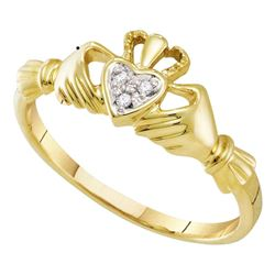 Diamond Claddagh Heart Ring .02 Cttw 10kt Yellow Gold