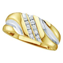Mens Diamond Wedding Band Ring 1/8 Cttw 14kt Yellow Gold