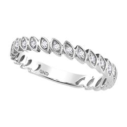 Diamond Marquise Shaped Stackable Band Ring 1/10 Cttw 10kt White Gold