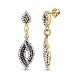Round Brown Blue Color Enhanced Diamond Dangle Earrings 1/2 Cttw 10kt Yellow Gold