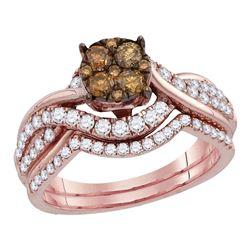 Round Brown Diamond Cluster Bridal Wedding Engagement Ring Band Set 1.00 Cttw 14kt Rose Gold