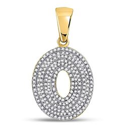 Mens Diamond Letter O Bubble Initial Charm Pendant 5/8 Cttw 10kt Yellow Gold