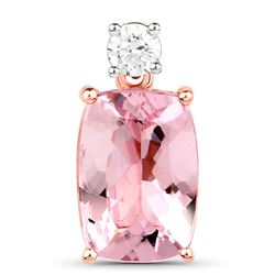 2.08 ctw Morganite & Diamond Pendant 14K Rose Gold - REF-78M2R