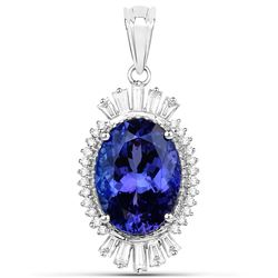 9.91 ctw Tanzanite & Diamond Pendant 18K White Gold - REF-1017R8K