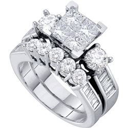 Diamond Cluster Bridal Wedding Engagement Ring Band Set 2.00 Cttw 14kt White Gold