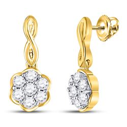 Diamond Flower Cluster Dangle Earrings 1/2 Cttw 10kt Yellow Gold