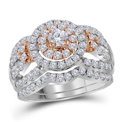 Diamond Halo Bridal Wedding Engagement Ring Band Set 1-1/2 Cttw 14kt White Rose 2-tone Gold